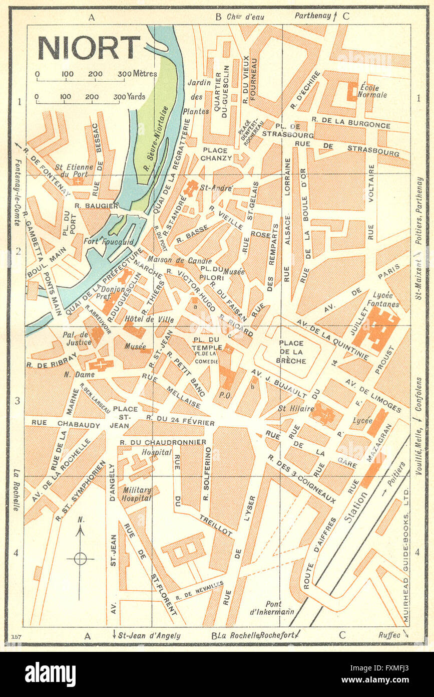 FRANCE Niort 1932 vintage map Stock Photo 102484203 Alamy