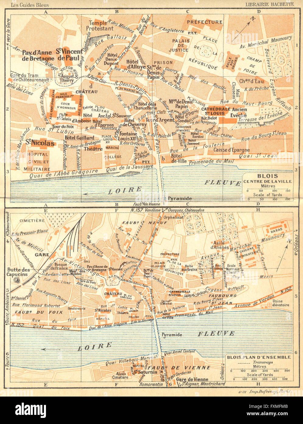 FRANCE Blois Centre de Ville plan dEnsemble 1932 vintage map