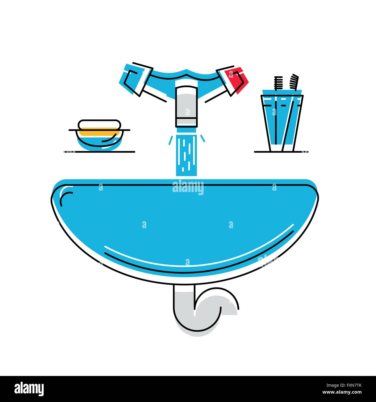 Bathroom sink with soap and toothbrushes, line style vector Stock ... for Bathroom Sink Toothbrush Clipart  45ifm