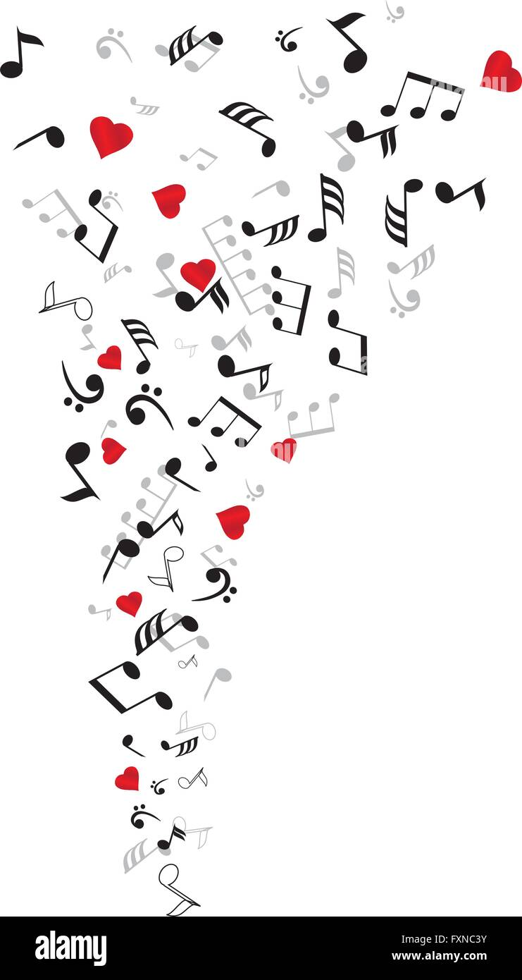 vector illustration of musical notes and hearts stock vector art