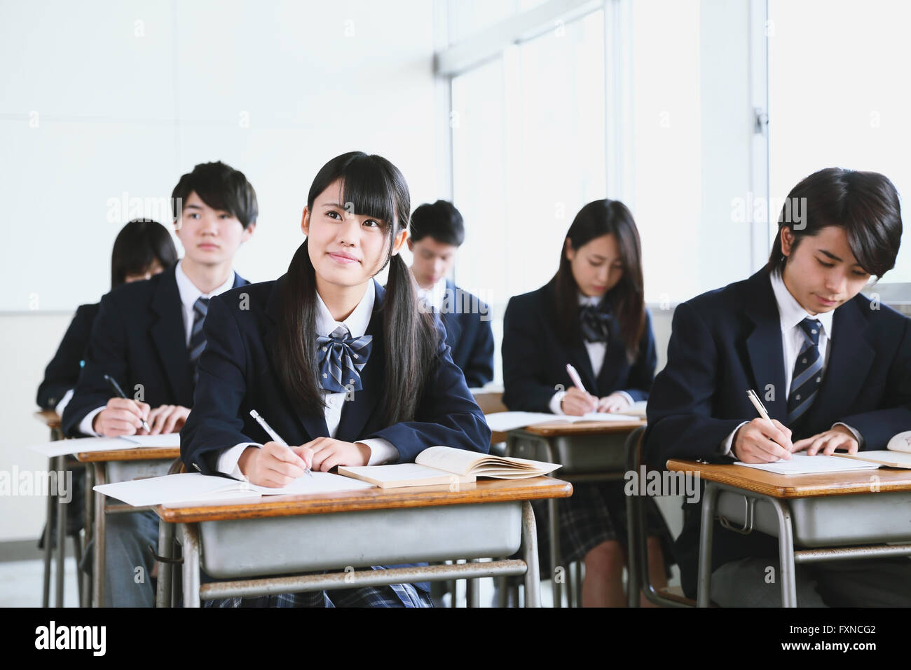 Japanese high-school students during a lesson Stock Photo ...