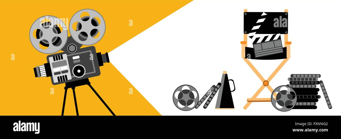 Cinema Banner Retro Movie Projector Strip Film Stock Photo ...
