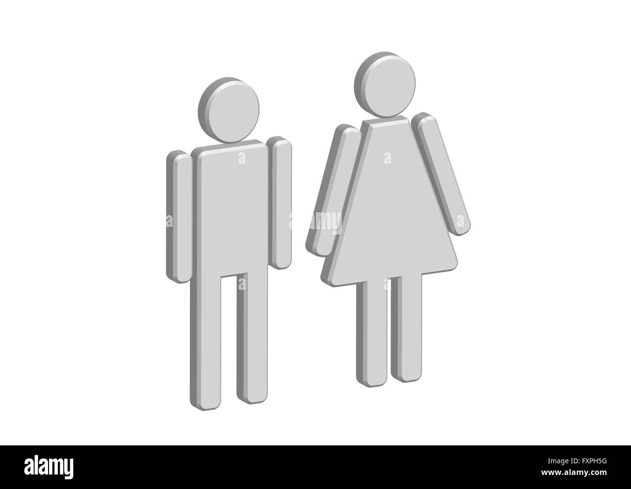 Bathroom Sign Man And Woman 3d pictogram man woman sign icons, toilet sign or restroom icon
