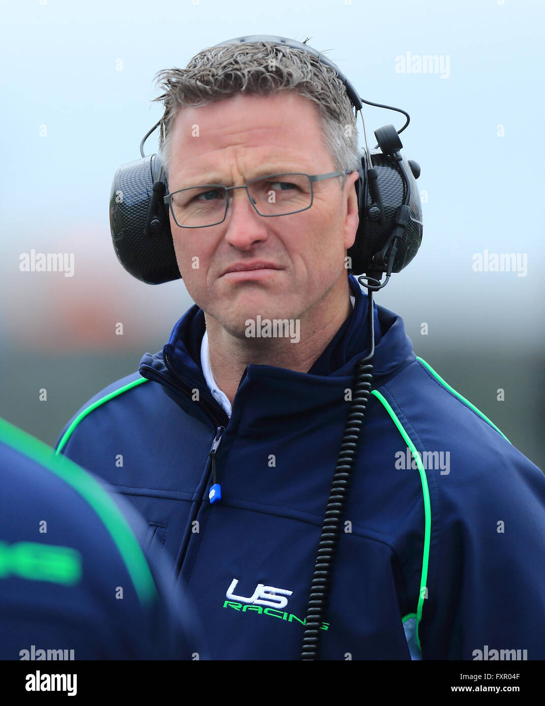 ralf schumacher of the 39 us racing 39 team pictured at the race track at stock photo royalty free. Black Bedroom Furniture Sets. Home Design Ideas