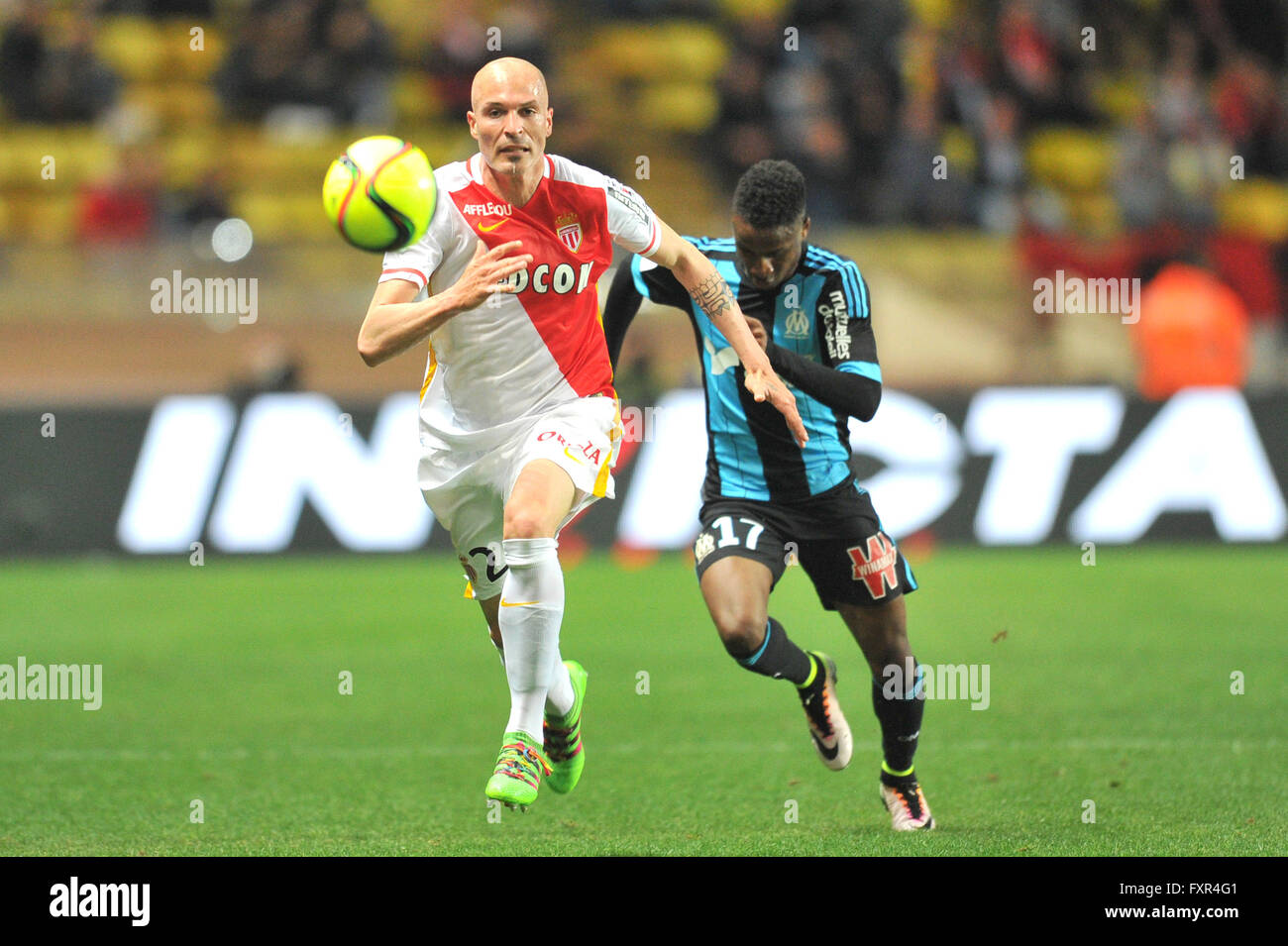 th apr french league football as as versus olympique marseille andrea raggi asm breaks away from bouna sarr om credit action plus sports live news