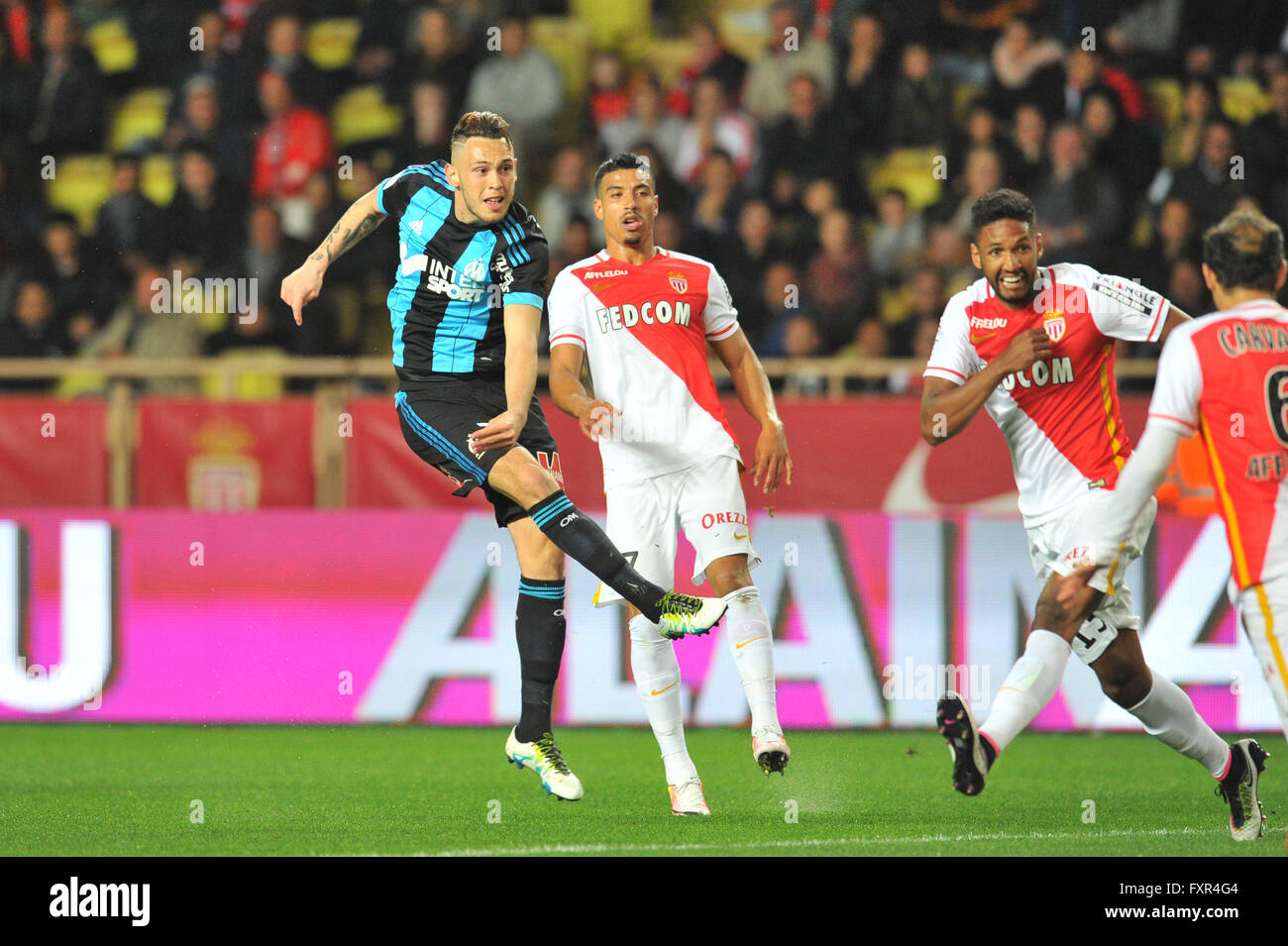 th apr french league football as 17th apr 2016 french league 1 football as versus olympique marseille lucas ocampos om takes a shot in front of nabil dirar asm and wallace