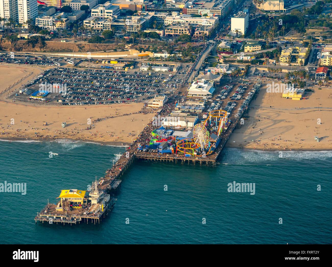 Aerial View Pacific Ocean Santa Monica Pier Rollercoaster Ferris Stock Photo Royalty Free
