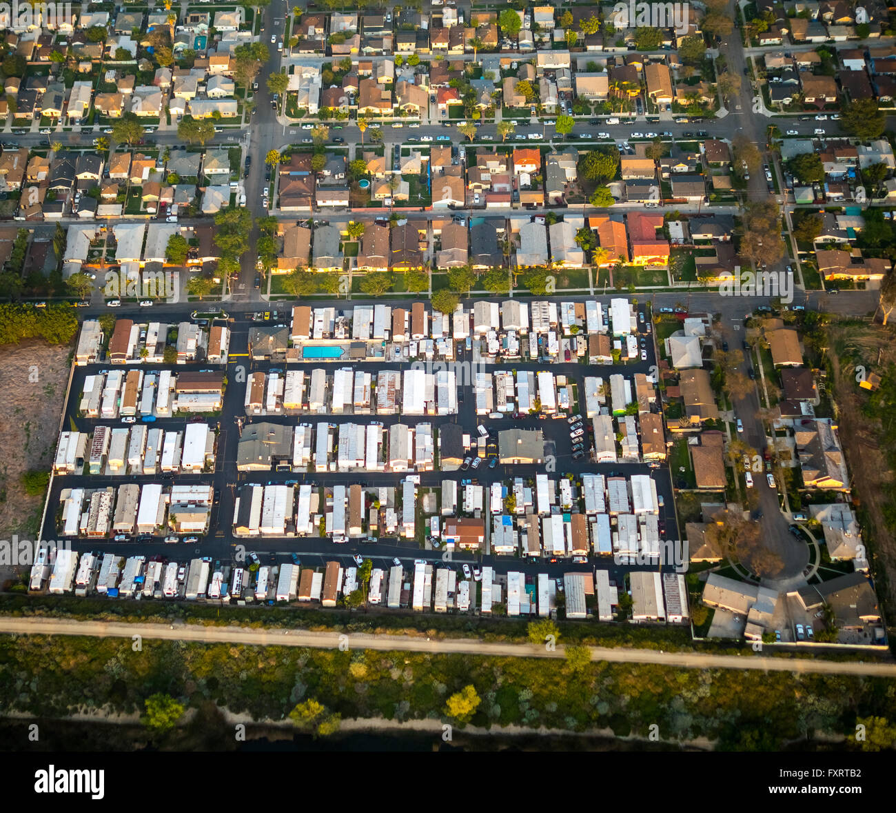 Aerial View Mobile Home Residential Park Oregon Avenue Brook Street Commerce Los Angeles County California USA