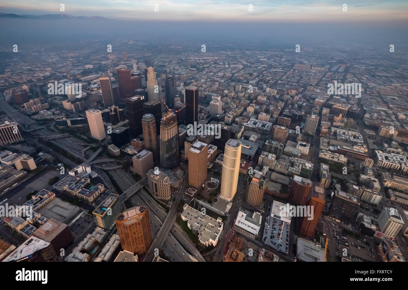 Aerial view skyscrapers of downtown los angeles in the haze smog aerial view skyscrapers of downtown los angeles in the haze smog los angeles sciox Gallery