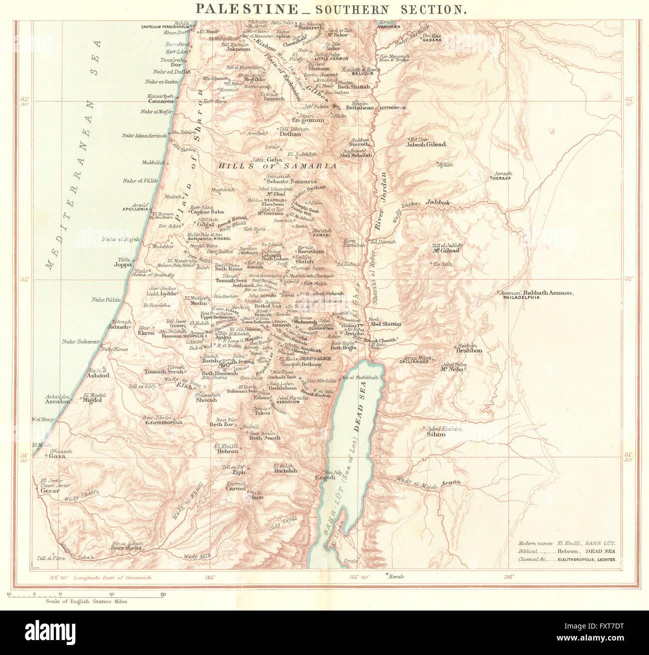 ISRAEL Palestinesouth Jordan c1885 antique map Stock Photo