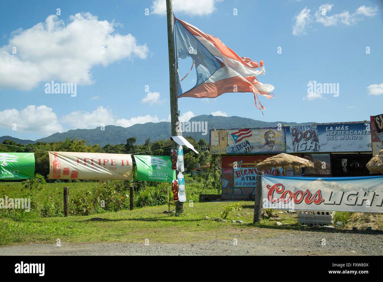 Flag of puerto rico stock photos flag of puerto rico stock worn and tattered flag in puerto rico ar a road side bar stock biocorpaavc Image collections