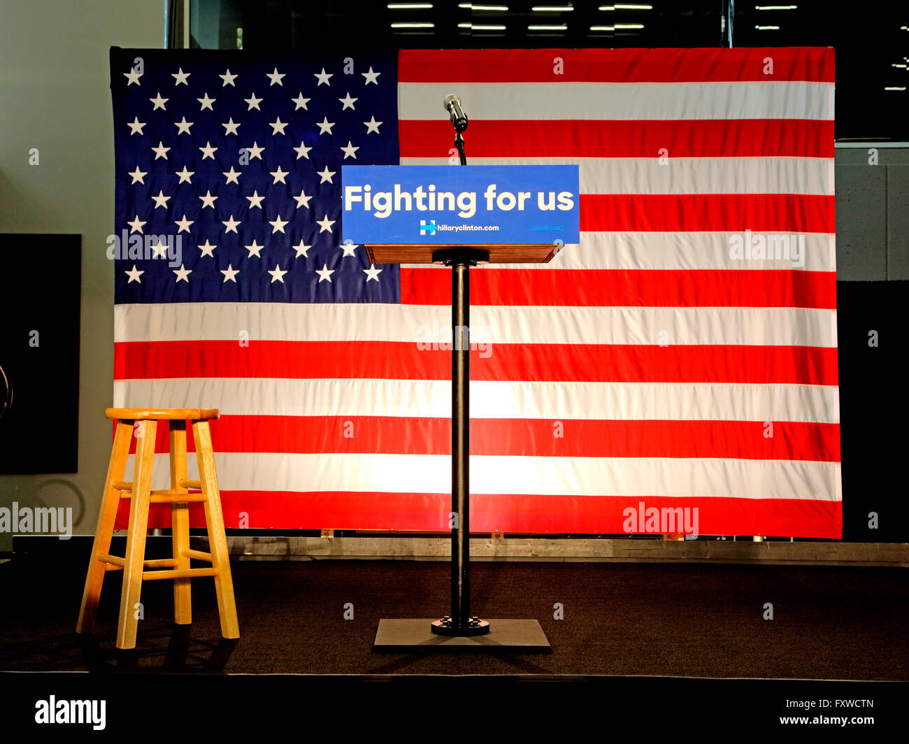 empty podium reads fighting for us at hillary clinton rally at sw college los