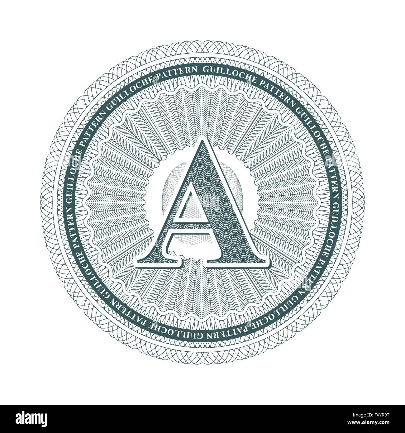 guilloche pattern with latters A element, vector illustration ...