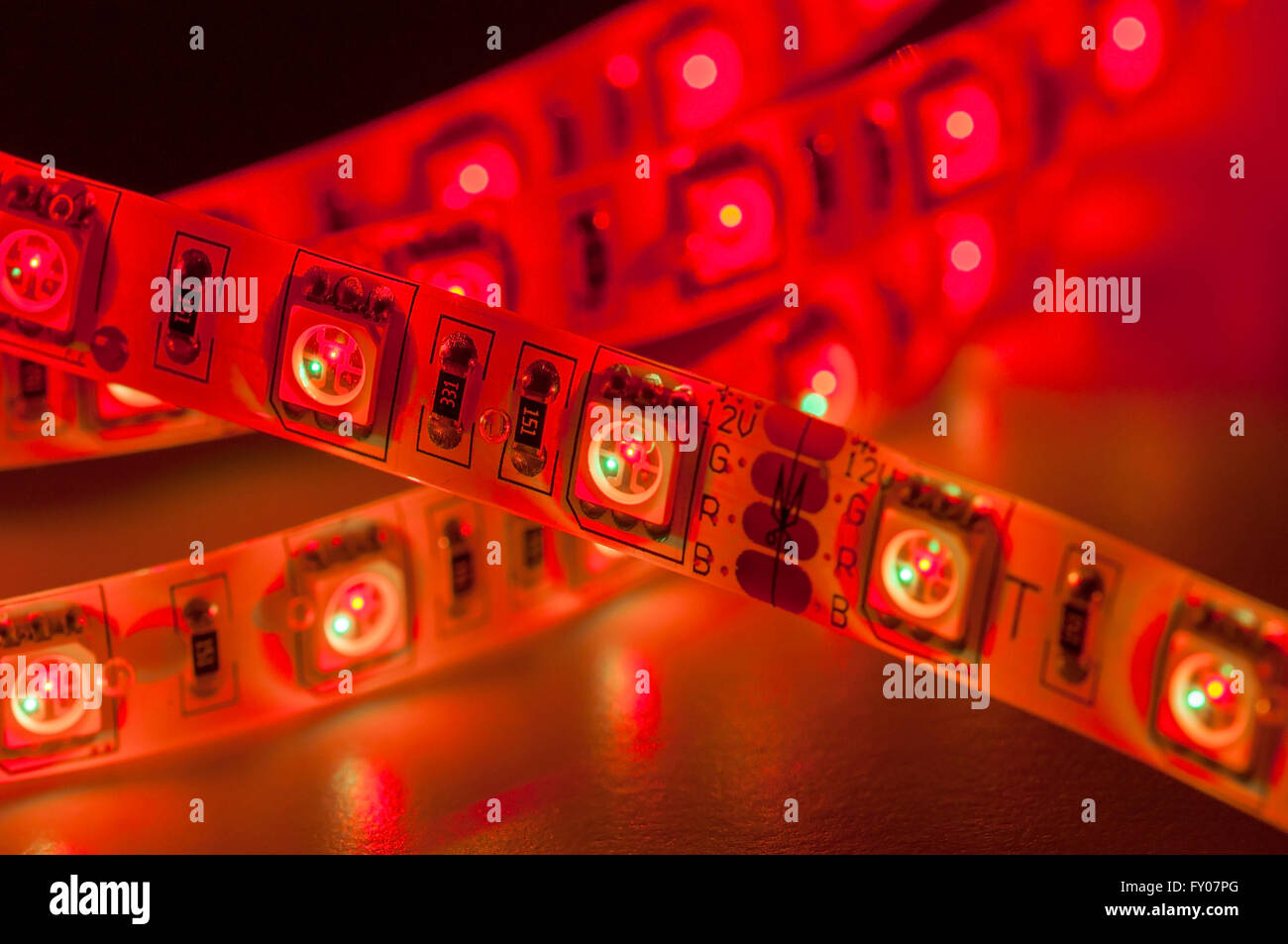 Close up red led light strip rgb stock photo royalty free image close up red led light strip rgb mozeypictures Image collections