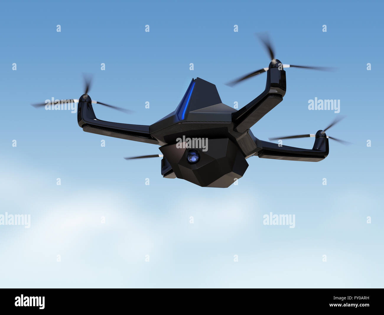 Autonomous Unmanned Drone With Surveillance Camera Flying In The Sky
