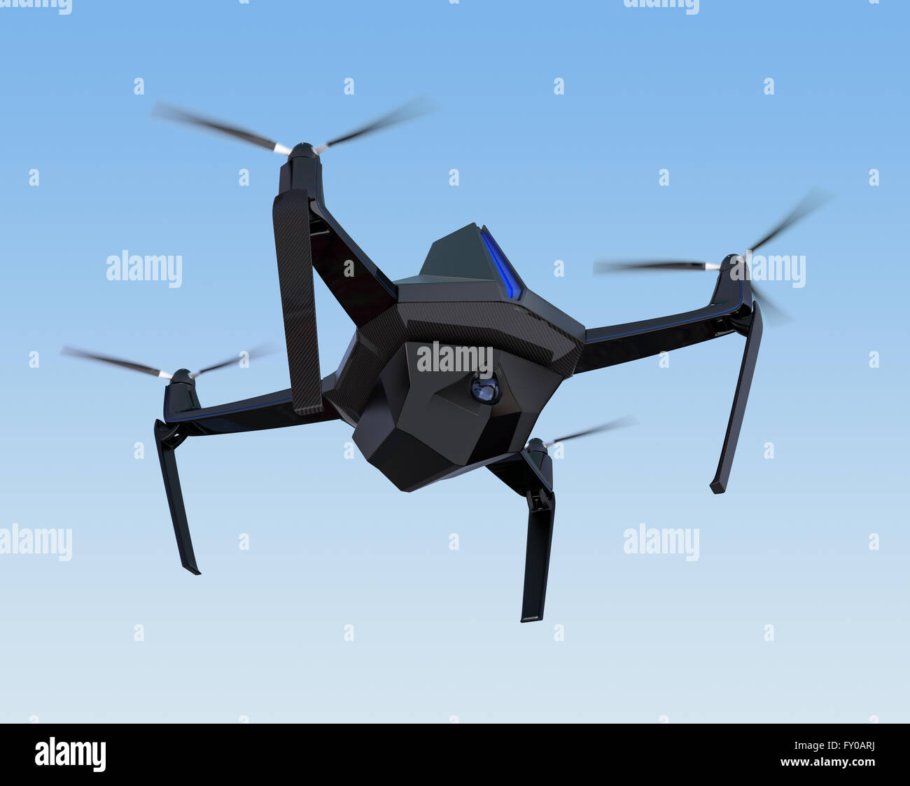 Autonomous Unmanned Drone With Surveillance Camera Flying In The Sky Original Design