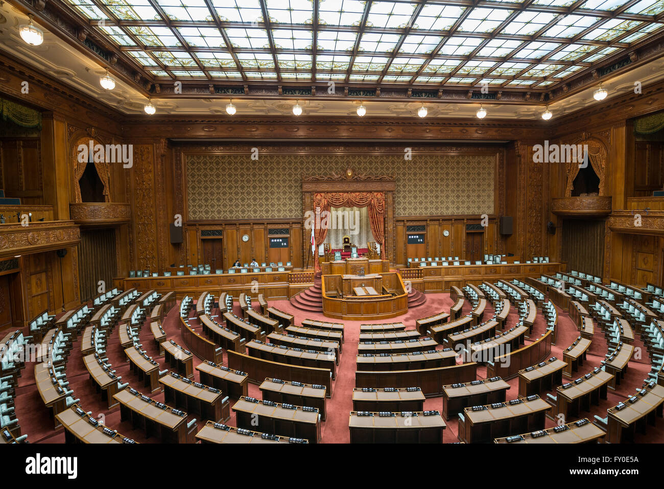 interior of house of representatives chamber lower house of japanese stock photo 102658678 alamy. Black Bedroom Furniture Sets. Home Design Ideas