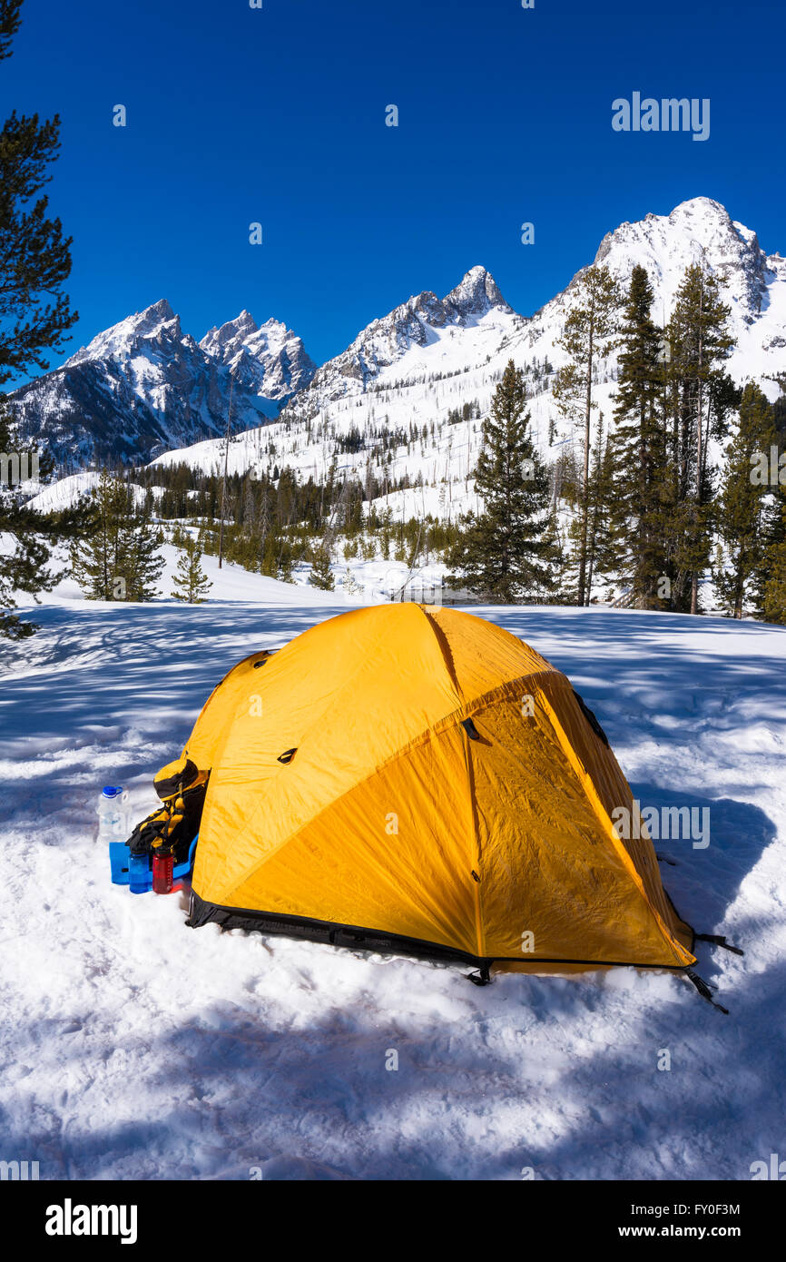 Yellow dome tent under the Tetons in winter Grand Teton National Park Wyoming USA & Yellow dome tent under the Tetons in winter Grand Teton National ...