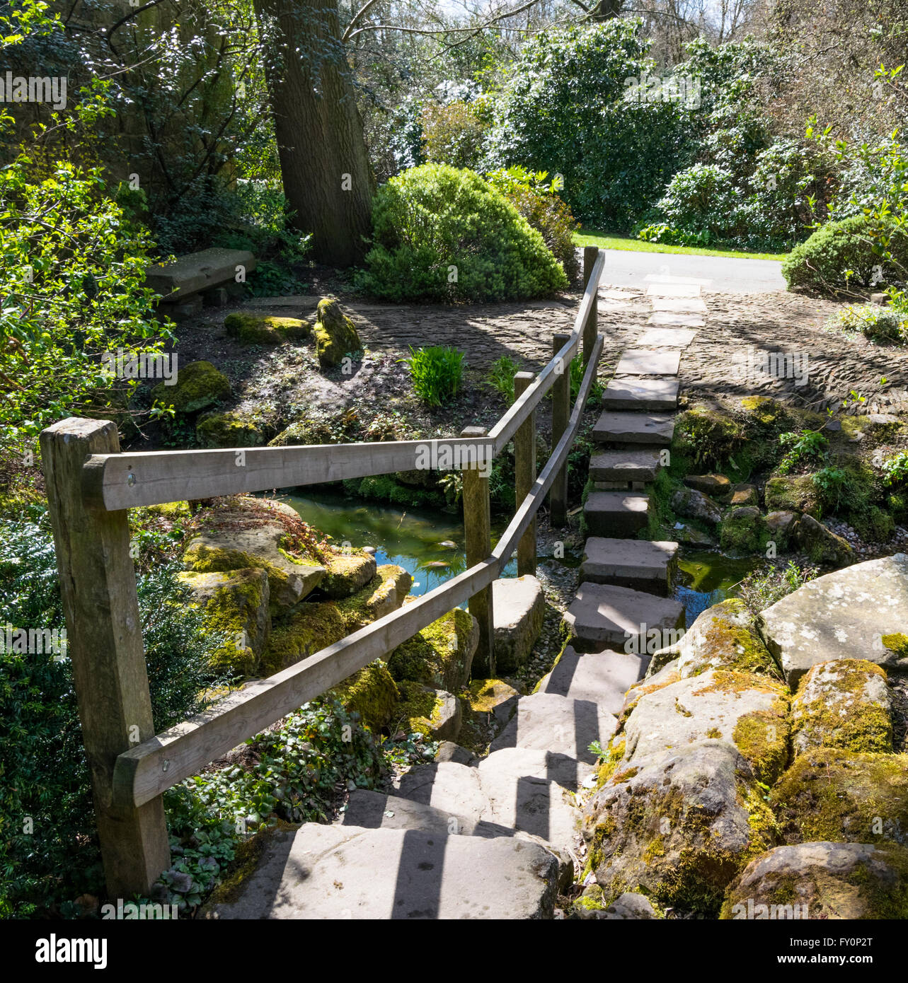 view of the stream and stepping stone path in the friends garden