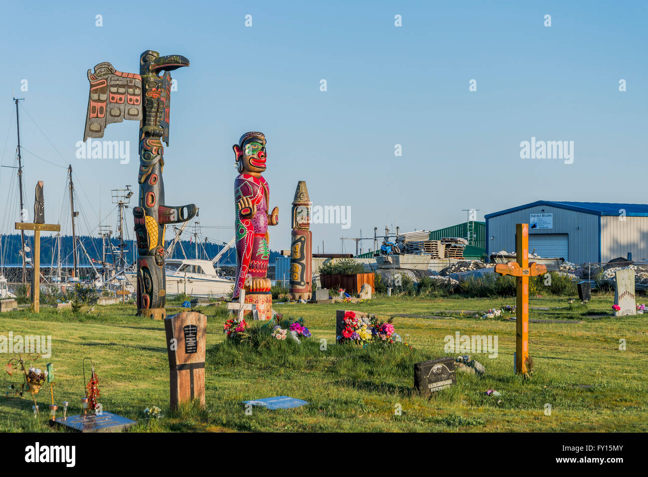 Stock Photo  Wei Wai Kum First Nation Memorial Poles, Campbell River  Indian Band Cemetary, Campbell River, British Columbia, Canada