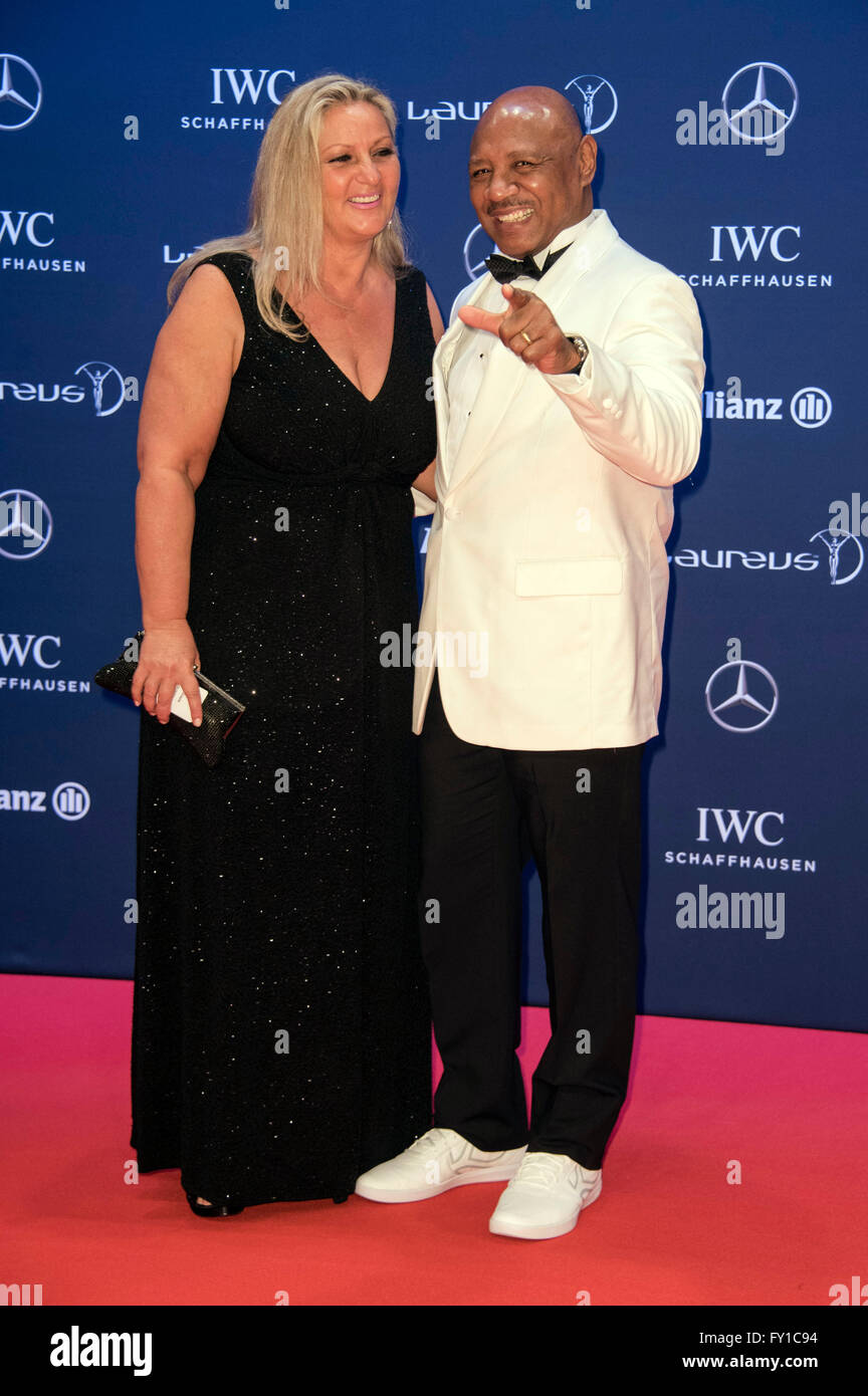 marvin hagler and wife kay hagler attending the 17th laureus world sports awards 2016 at messe
