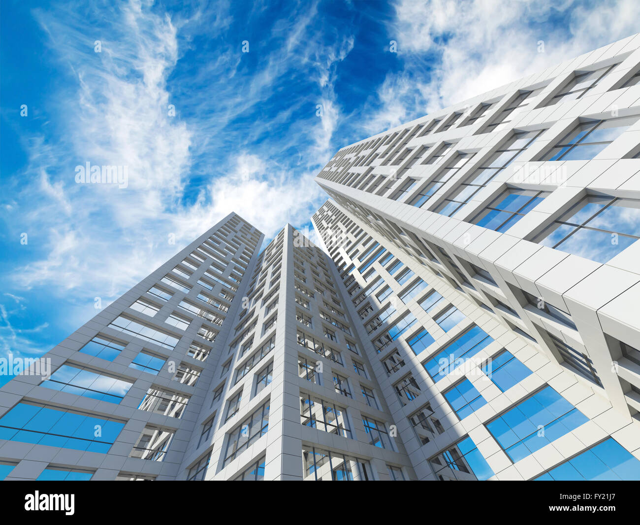Modern Architecture Render abstract modern architecture. perspective of tall city towers