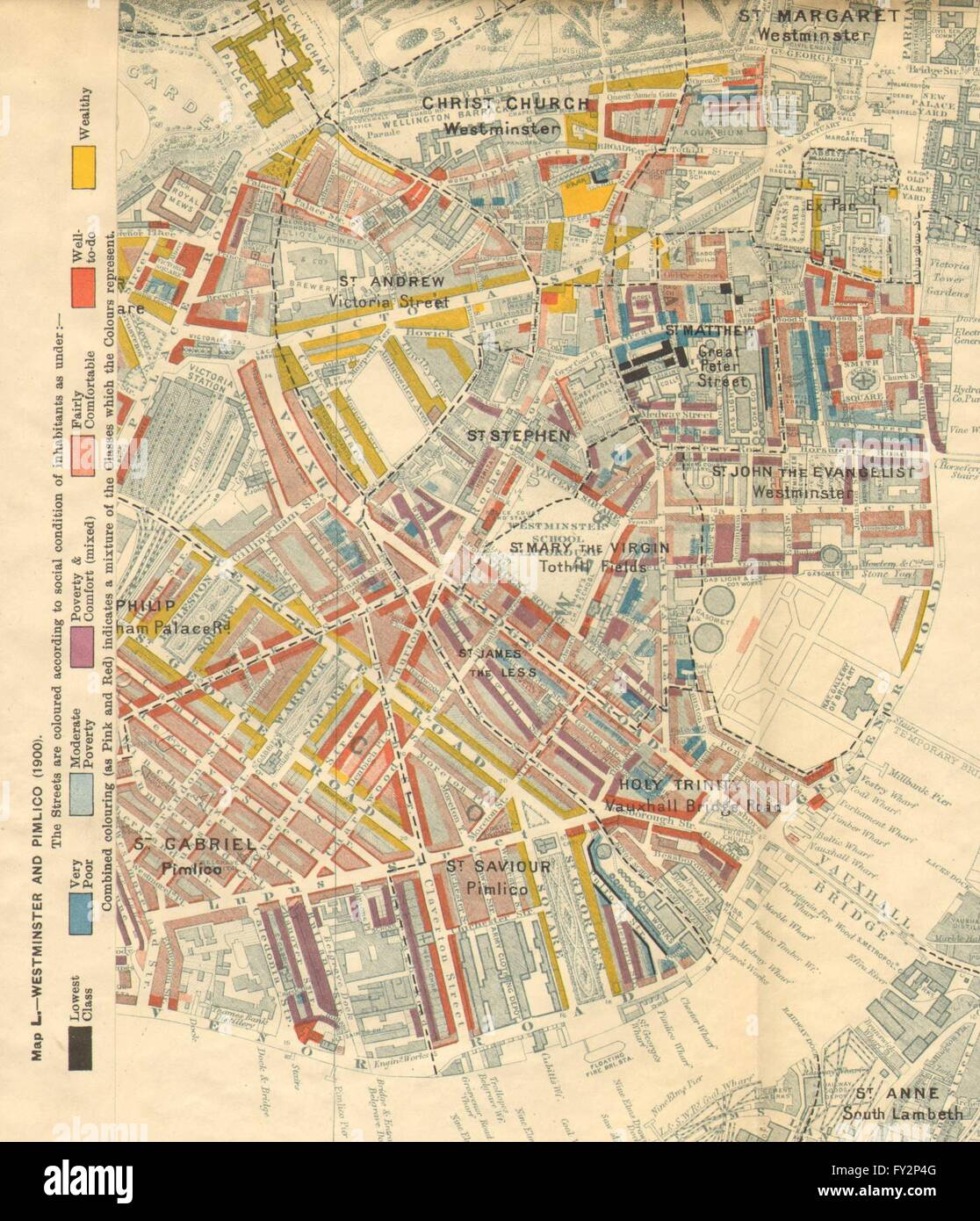 CHARLES BOOTH POVERTY MAP Westminster Pimlico Victoria - Westminster map