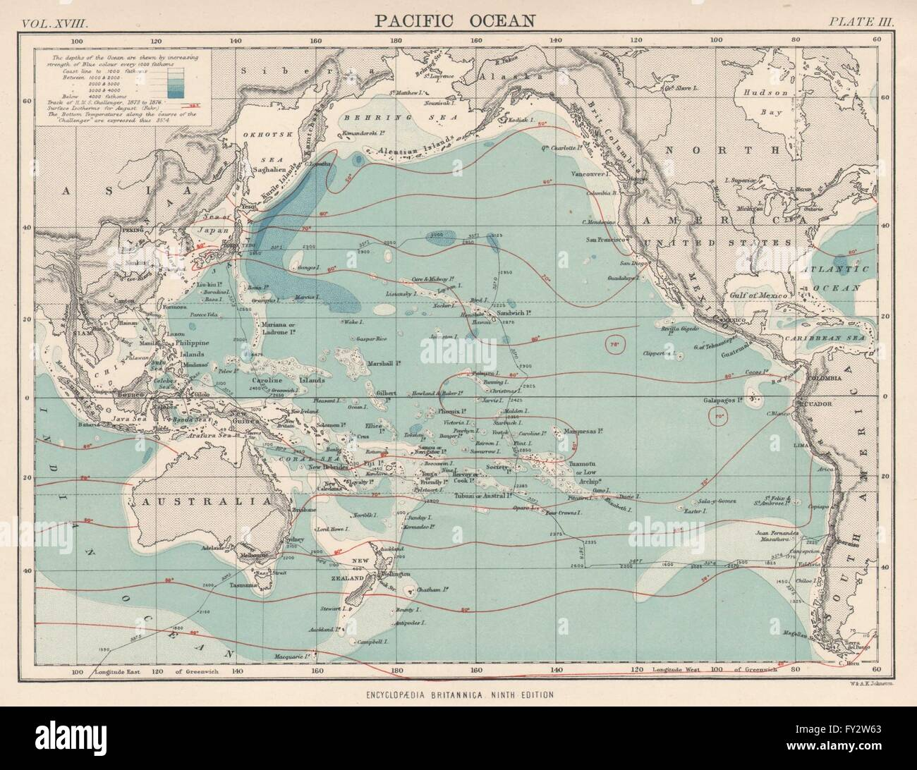 PACIFIC OCEANDepthSurface IsothermsHMS Challenger Expedition - Pacific ocean depth map