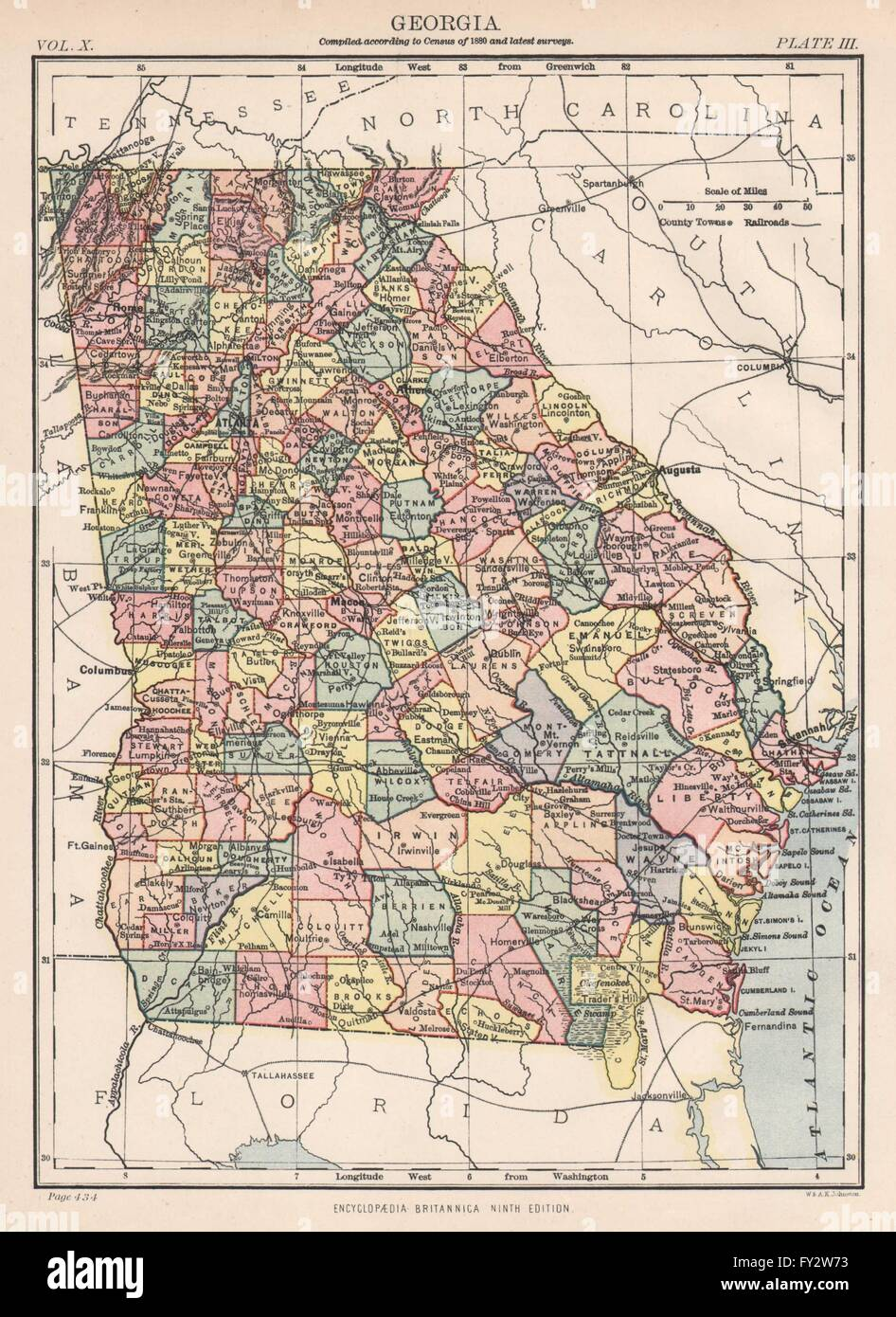 GEORGIA State Map Countiesrailroads Atlanta Britannica Th - Map of counties in georgia