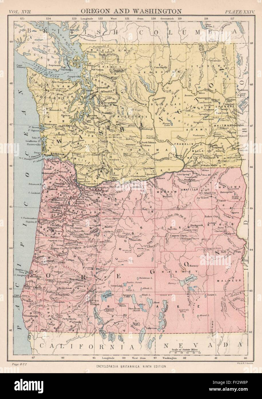 OREGON WASHINGTON State Map Showing Counties Seattle Tacoma - Map of oregon and washington