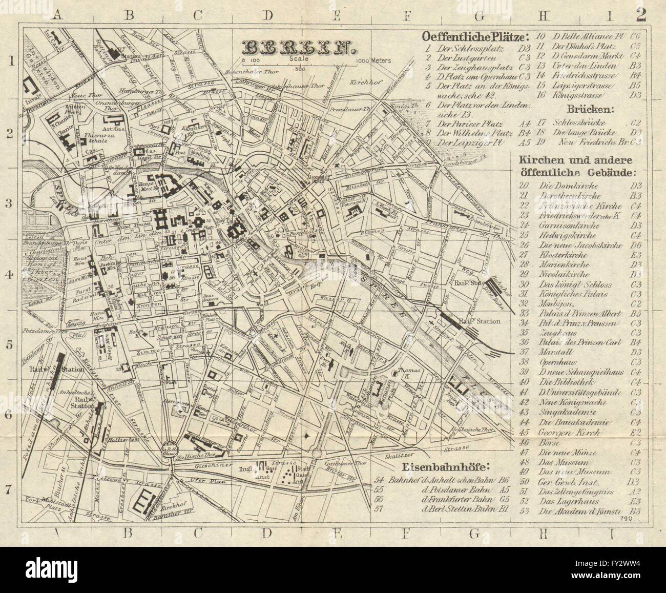 BERLIN Antique Town Plan City Map Germany BRADSHAW Stock - Germany cities towns map