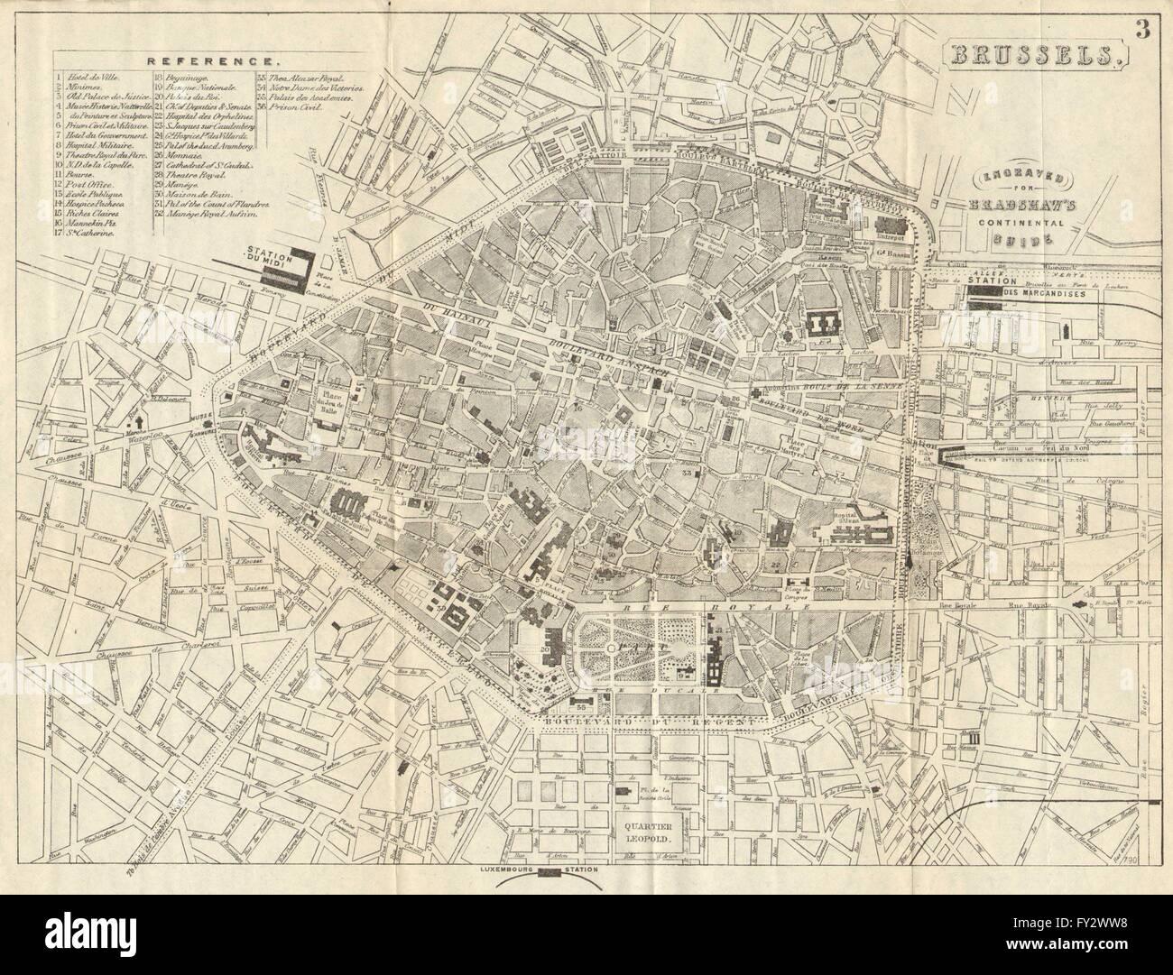 BRUSSELS BRUSSEL BRUXELLES Antique Town Plan City Map Belgium - Brussels belgium map