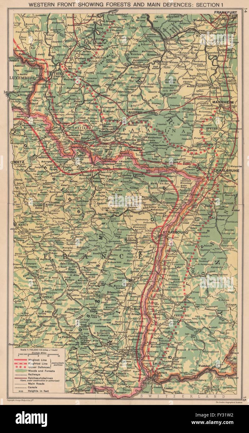 World war 2 maginot siegfried line defences pre invasion of world war 2 maginot siegfried line defences pre invasion of france 1940 map gumiabroncs Images