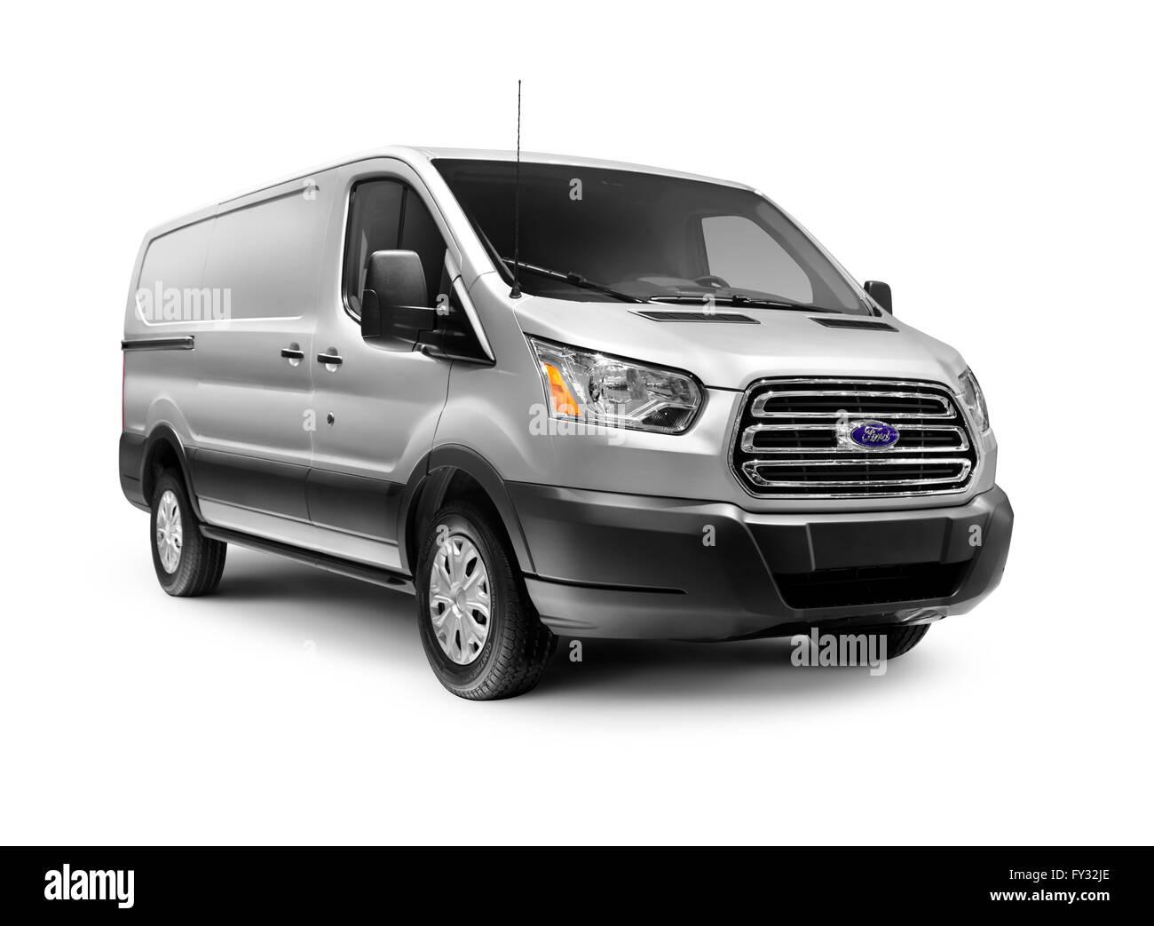 Silver 2016 ford transit 250 low roof rwb van commercial vehicle stock image