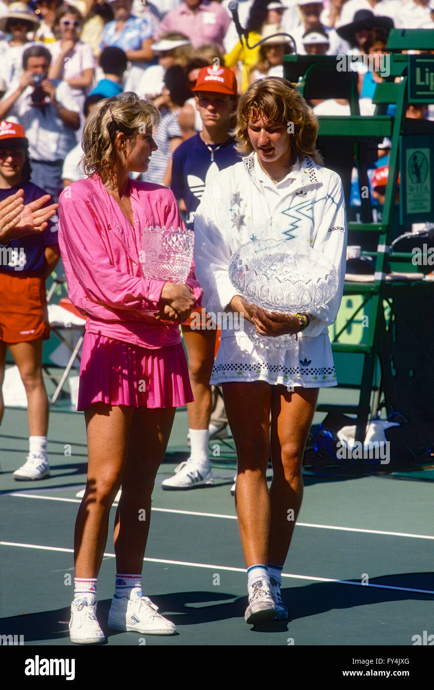 Steffi Graf GER defeated Chris Evert USA at the 1988 Lipton