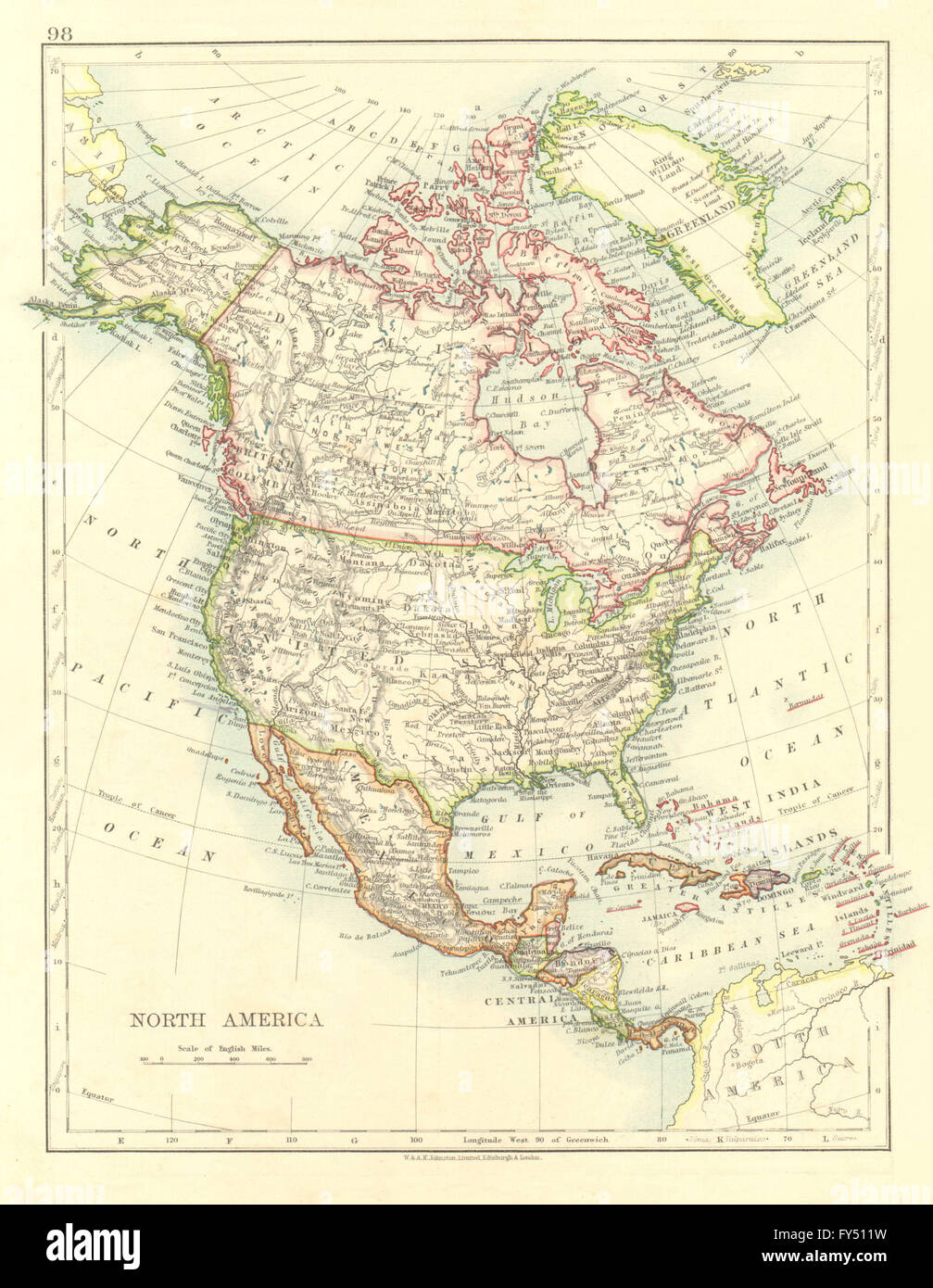 NORTH AMERICA POLITICAL Greenland USA Canada Mexico JOHNSTON - Usa canada mexico map