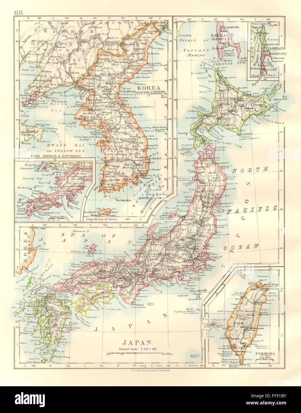 KOREA JAPAN FORMOSA Japanese Port Arthur Hachijo Penal Stock - Japan map 1920