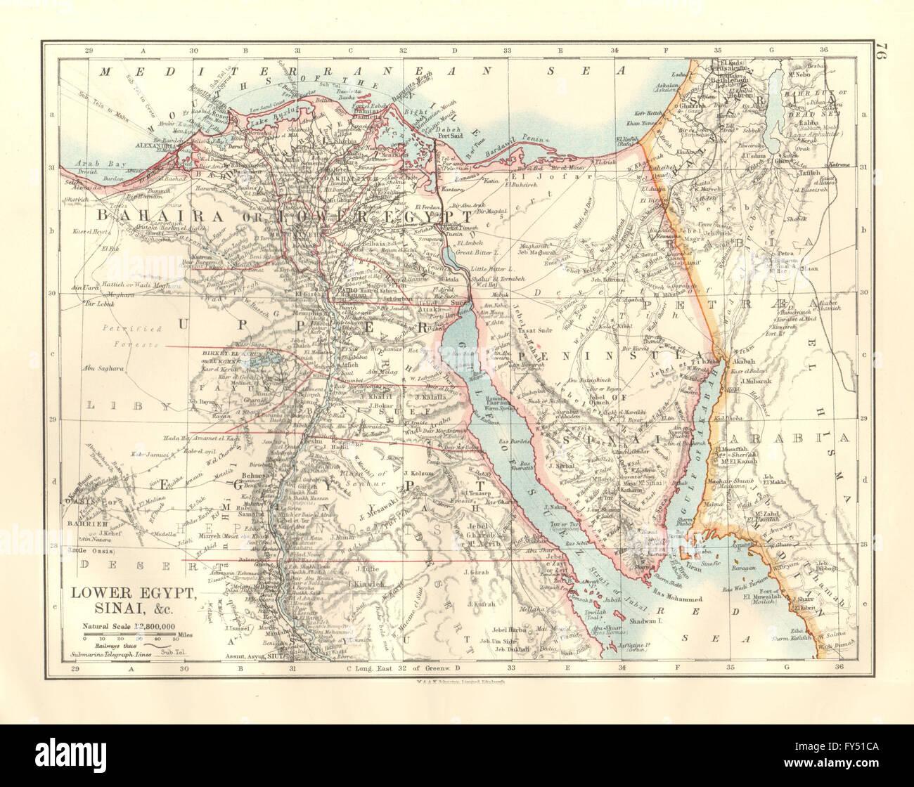 LOWER EGYPT SINAI Provinces Nile Valleydelta Railways Stock - Map of egypt 1920