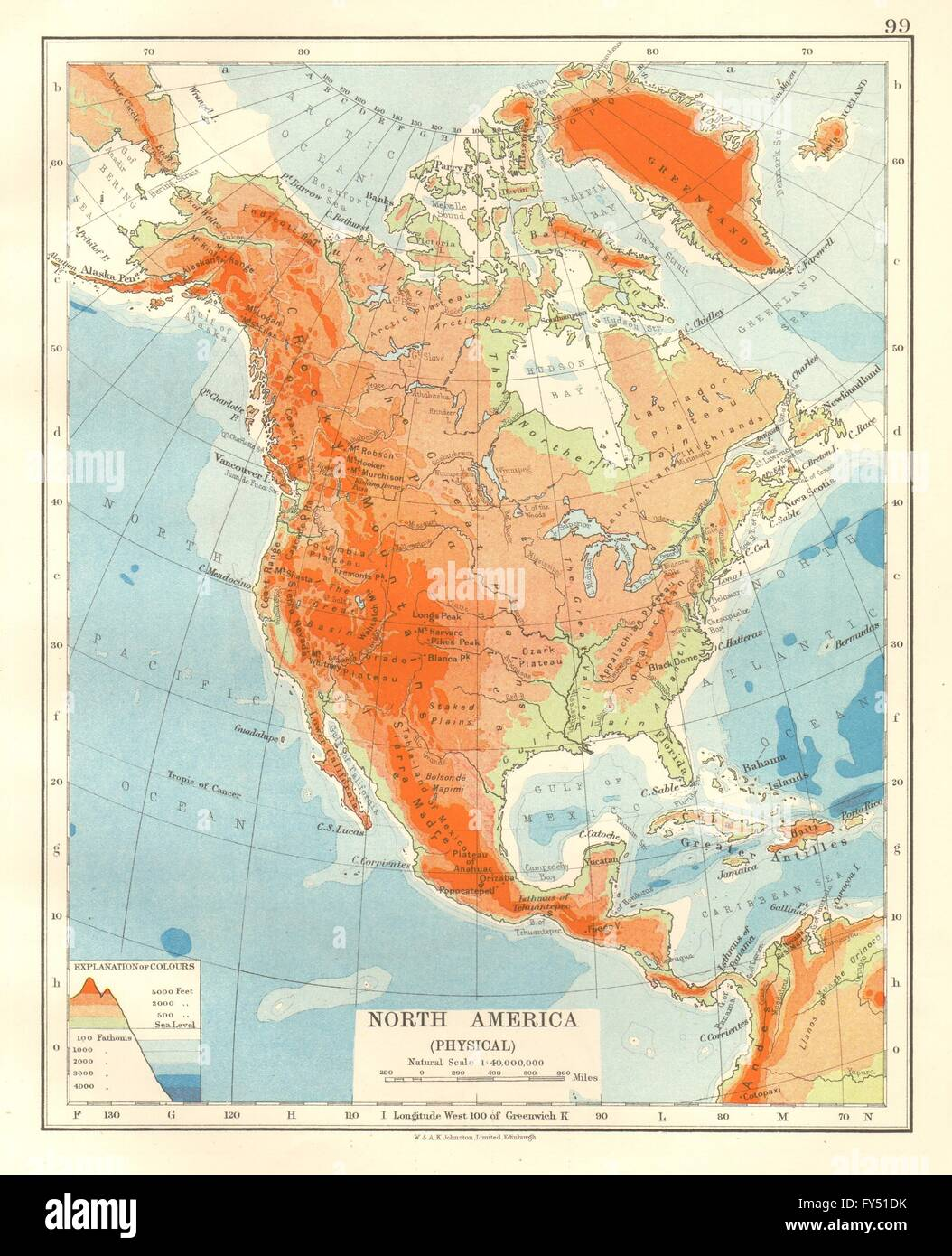 NORTH AMERICA PHYSICAL Relief Key mountains heights Ocean