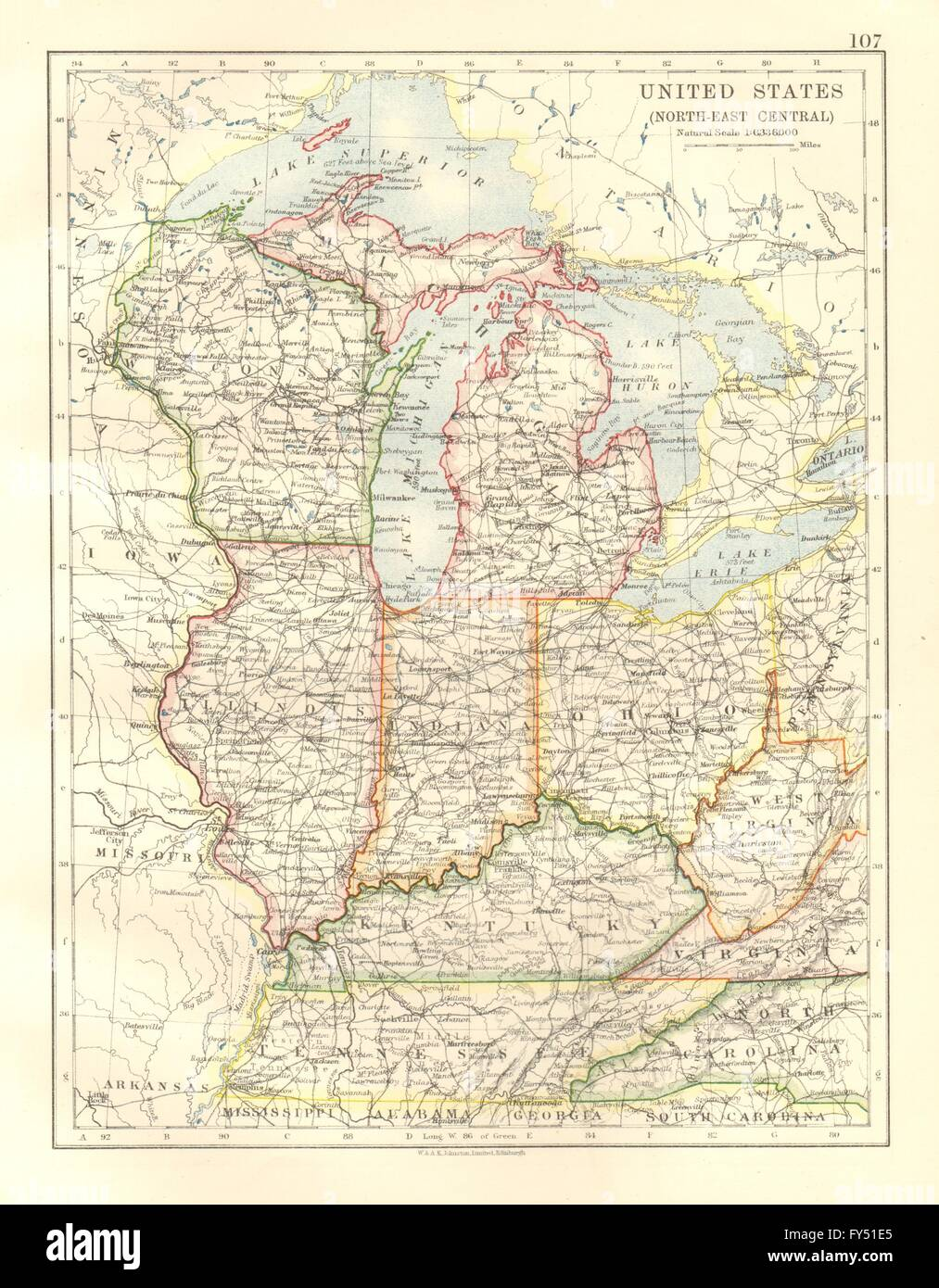 Reference Map Of Indiana USA Nations Online Project List Of - Us map indiana ohio