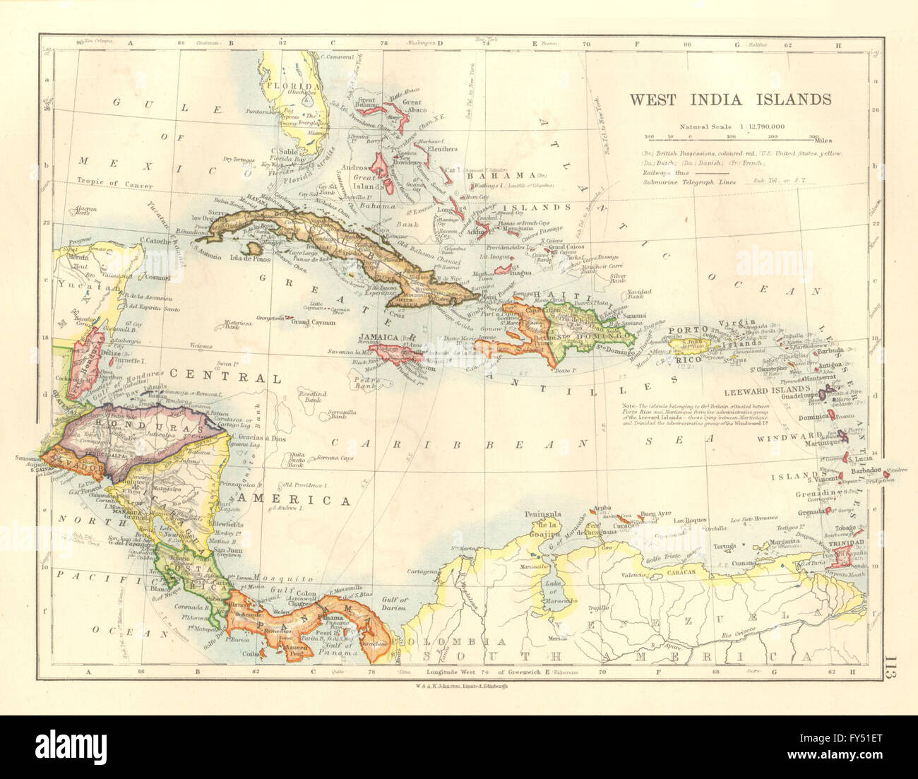 Caribbean Bahamas Windward Leeward Islands JOHNSTON 1920 Map