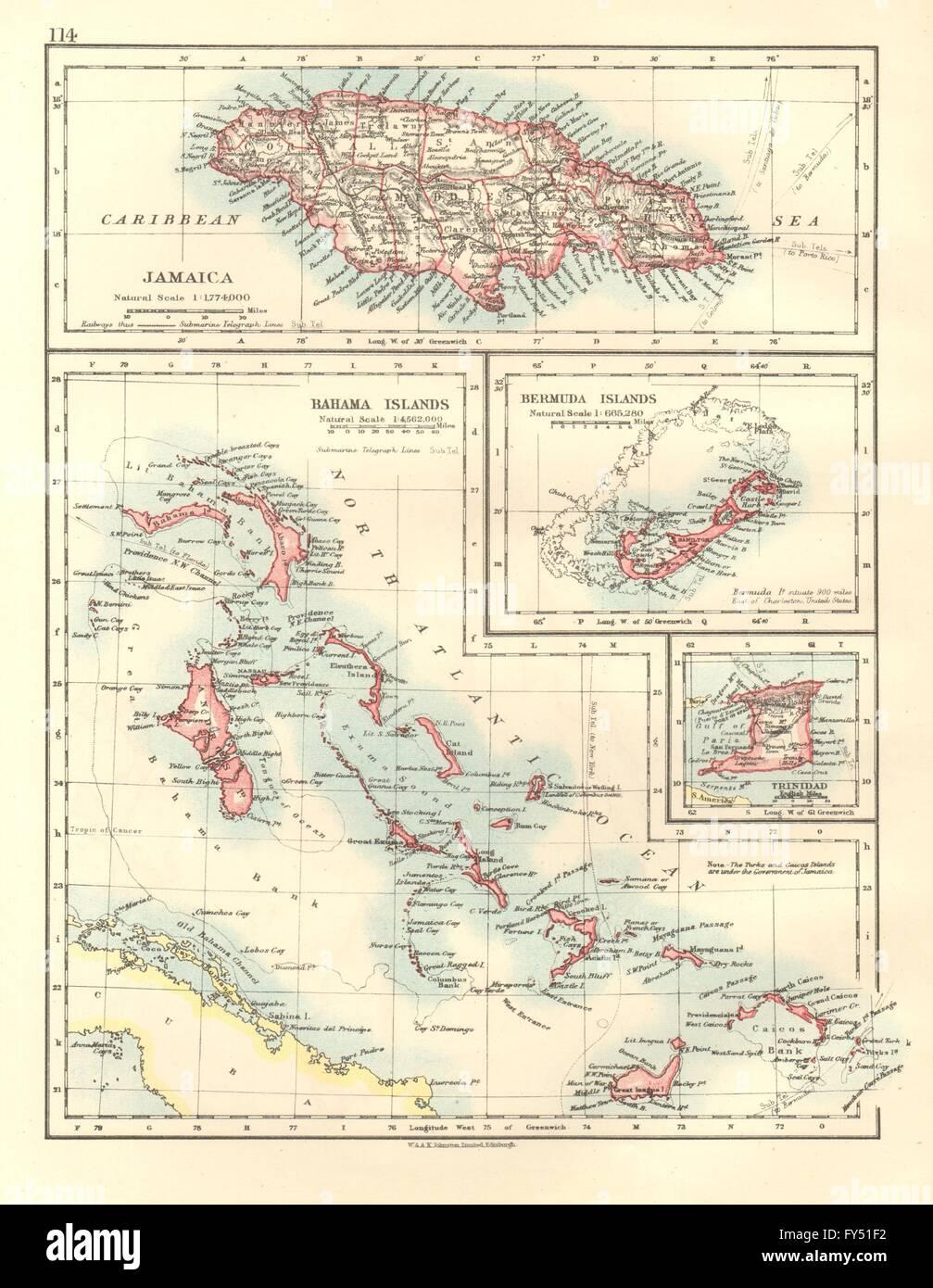 Caribbeanatlantic islandsjamaica bermuda bahamas trinidad stock jamaica bermuda bahamas trinidad johnston 1920 map gumiabroncs Image collections