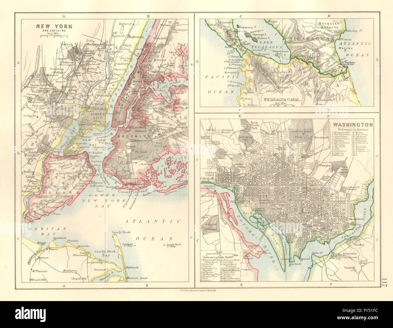 US CITIESNICARAGUA CANALNew York Washington Plans JOHNSTON - 1920 map of us