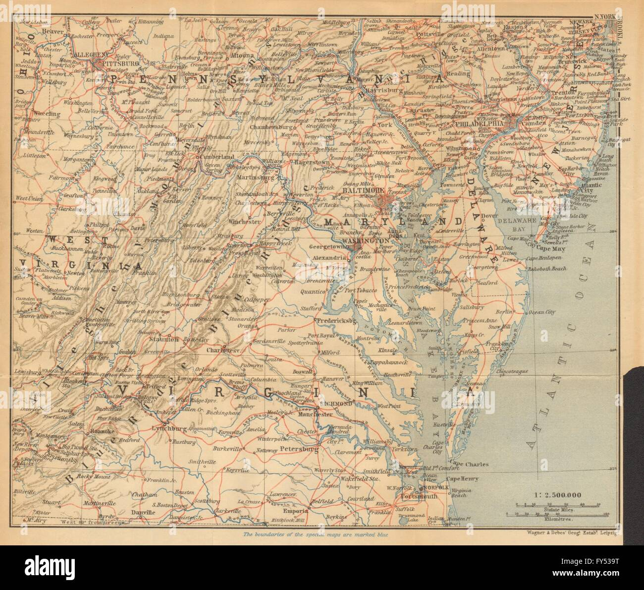 USA ATLANTIC STATES RAILWAY MAP Appalachia Baltimore - Baltimore usa map