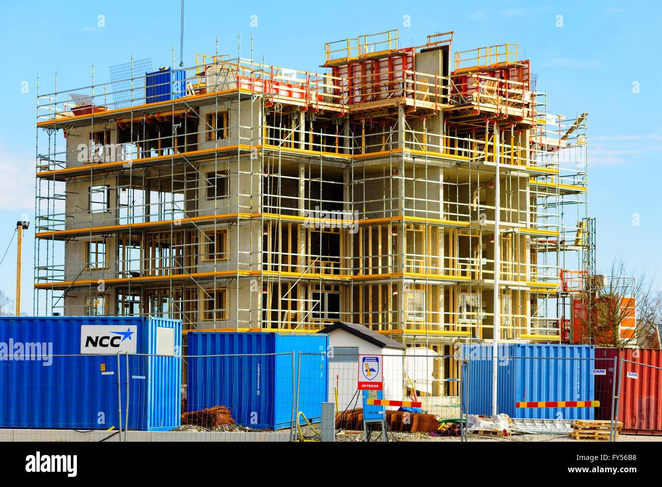 Apartment Building Construction trelleborg, sweden - april 12, 2016: construction site of a high