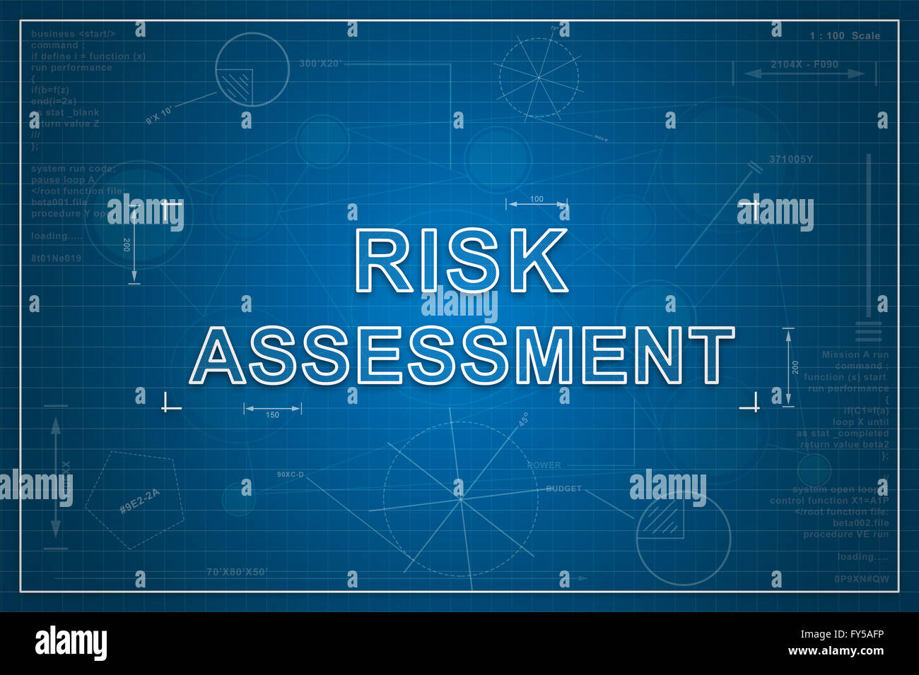 Risk assessment on paper blueprint background business concept risk assessment on paper blueprint background business concept malvernweather Choice Image