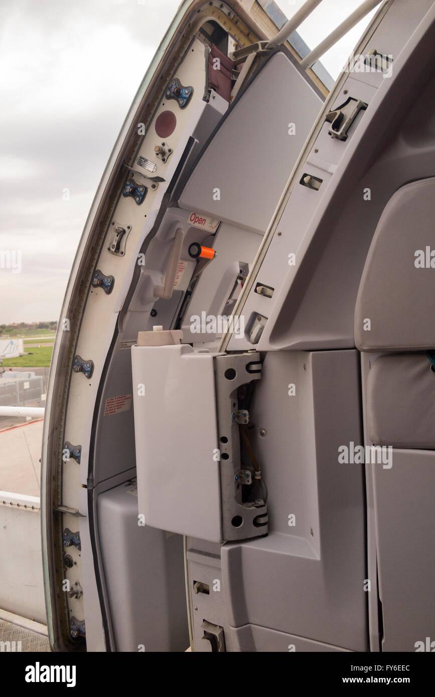 Open aircraft front passenger door seen from the inside showing locking mechanism etc. & Aircraft Door Stock Photos \u0026 Aircraft Door Stock Images - Alamy Pezcame.Com