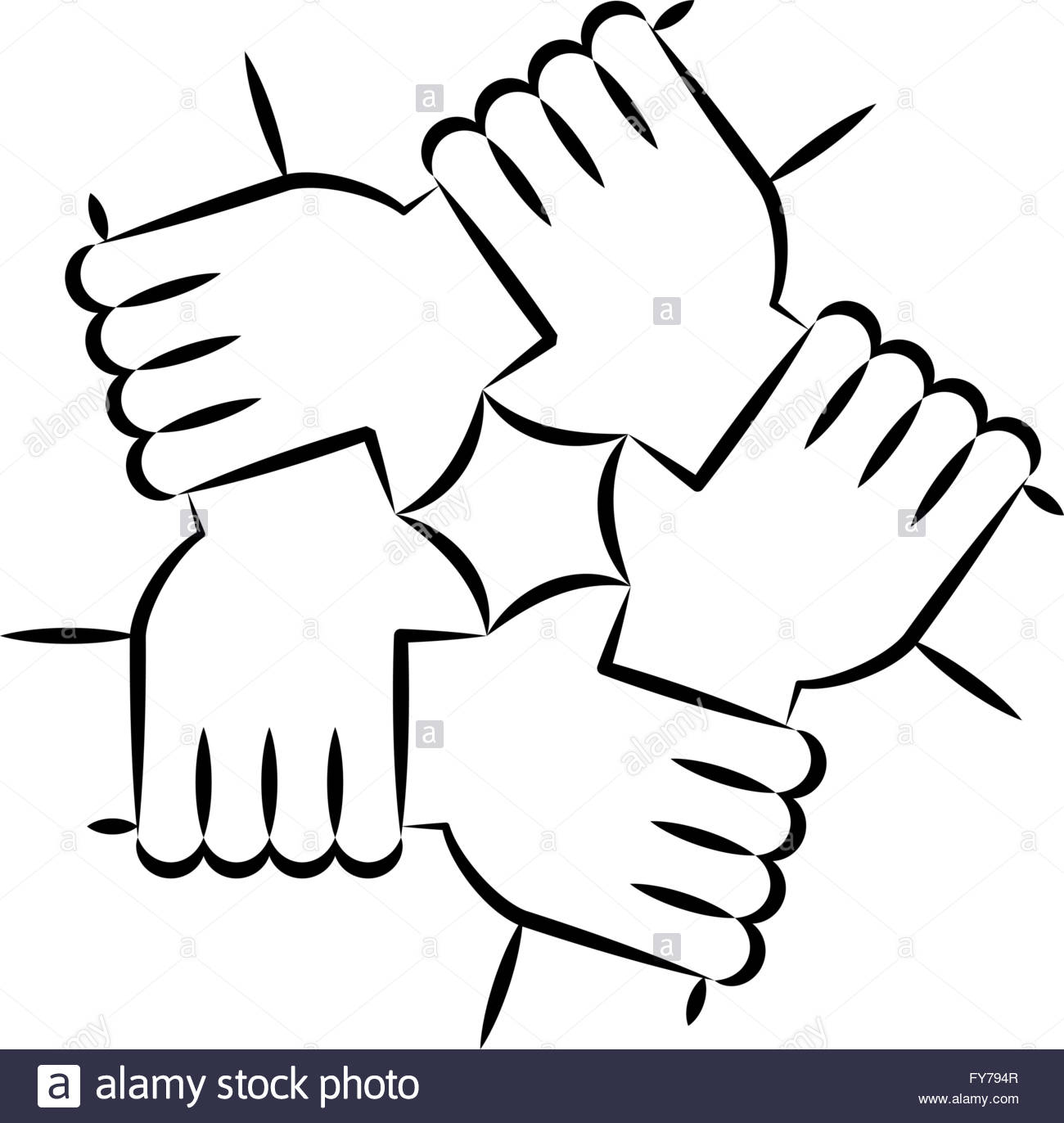 Vector Drawing Lines Unity : Solidarity circle line art on white five hands holding
