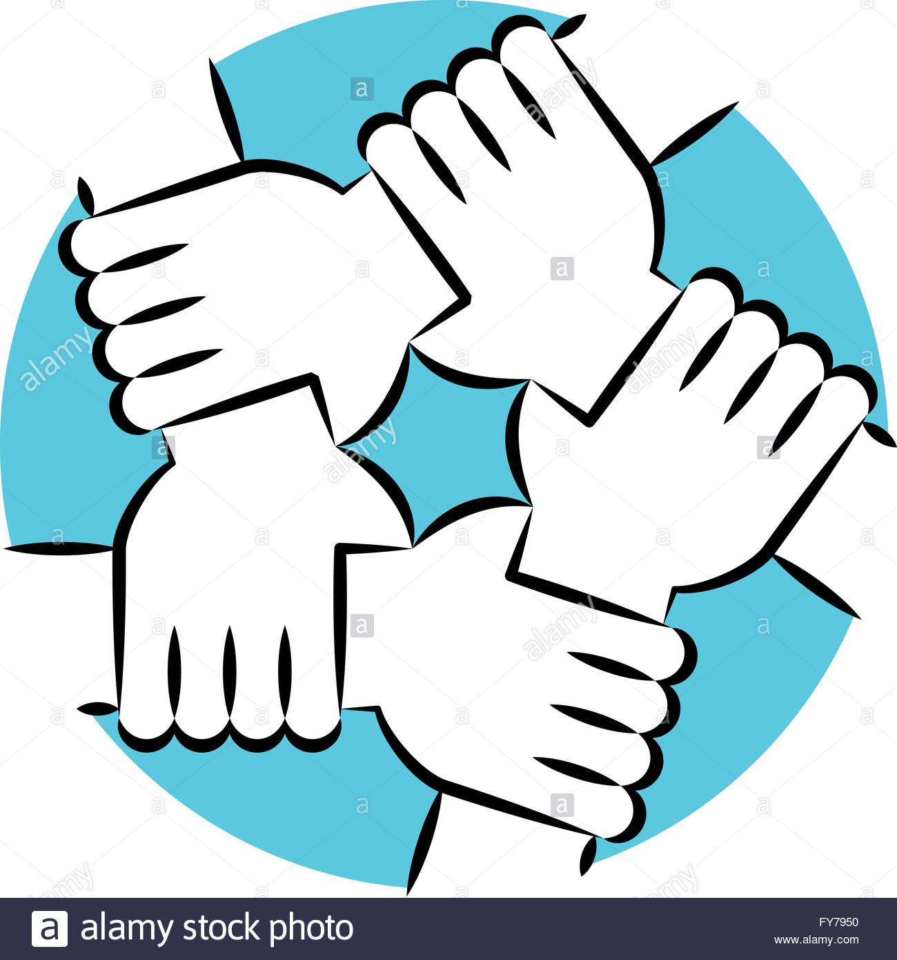 Vector Drawing Lines Unity : Solidarity circle line art blue five hands holding each