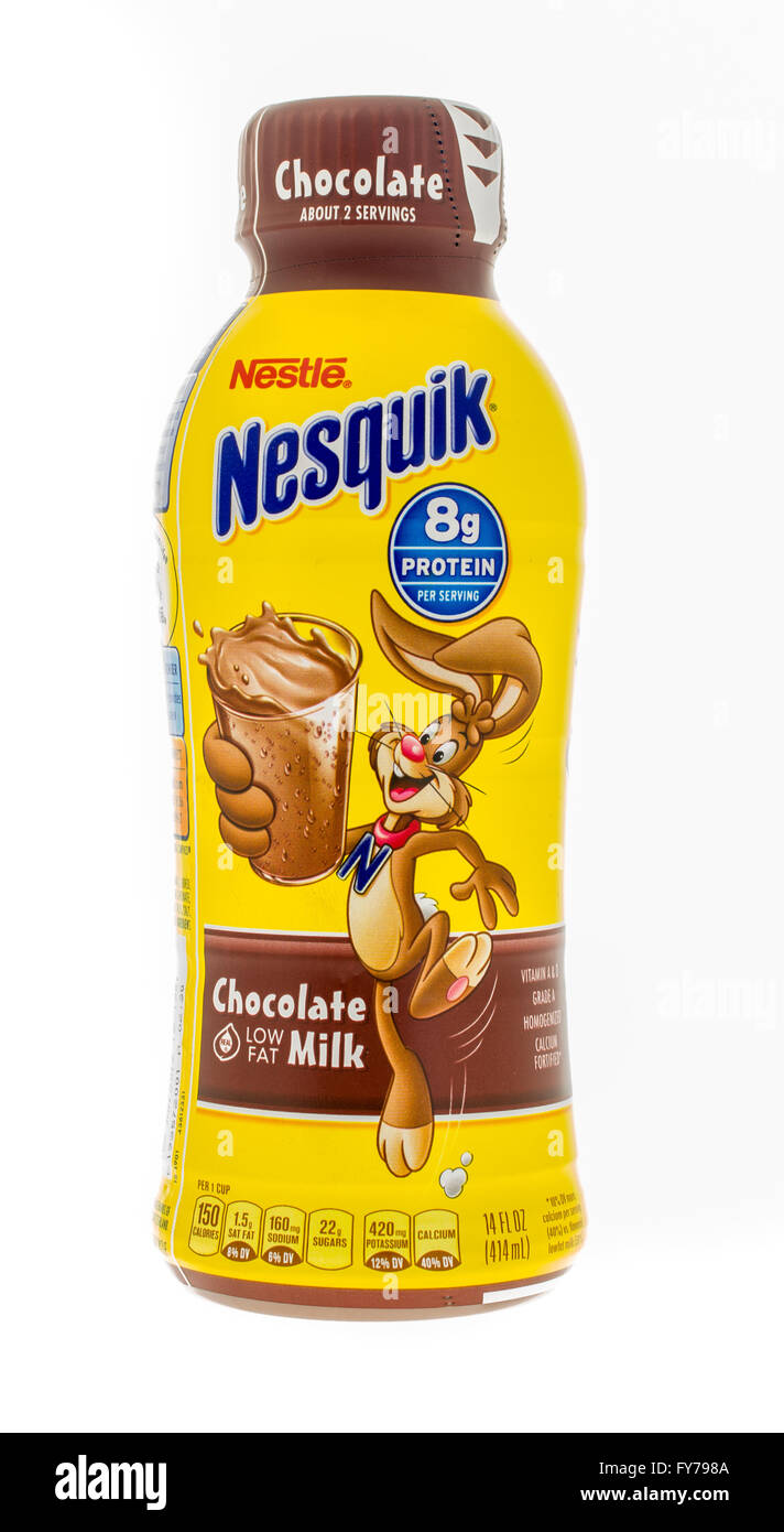 Winneconne, WI -4 Nov 2015: Bottle of Nestle Nesquik chocolate ...